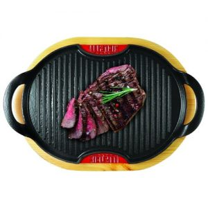 Grill induction 36 cm fonte emaillée + support bois BIALETTI
